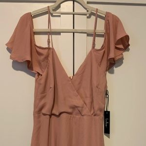 lulus blush pink off the shoulder mini dress